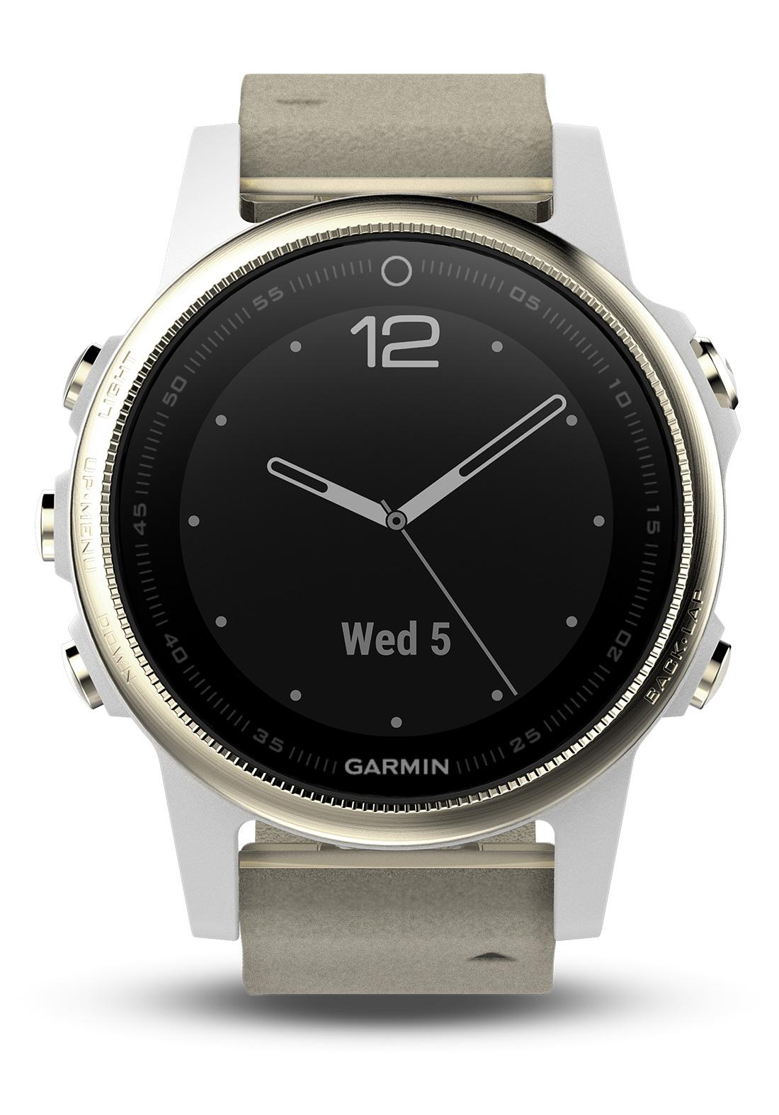 garmin fenix 5s saphir champagne leder gps multisport. Black Bedroom Furniture Sets. Home Design Ideas