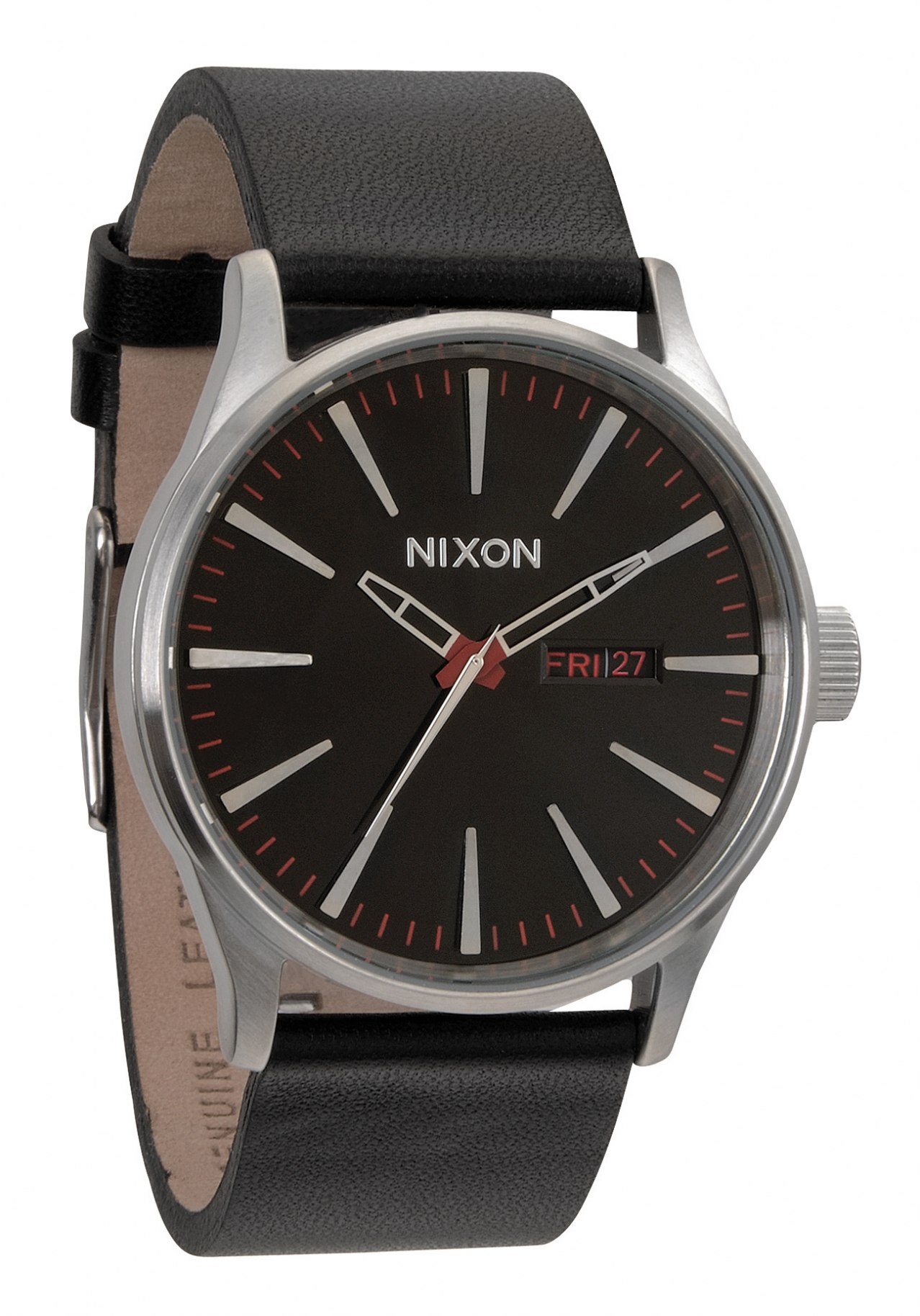 nixon the sentry leather black herrenuhr a105000 nur 139 00. Black Bedroom Furniture Sets. Home Design Ideas