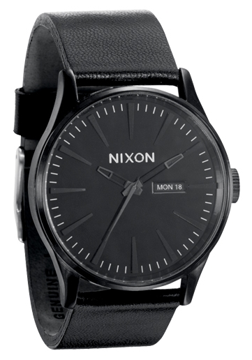 Nixon The Sentry Leather All Black Herrenuhr