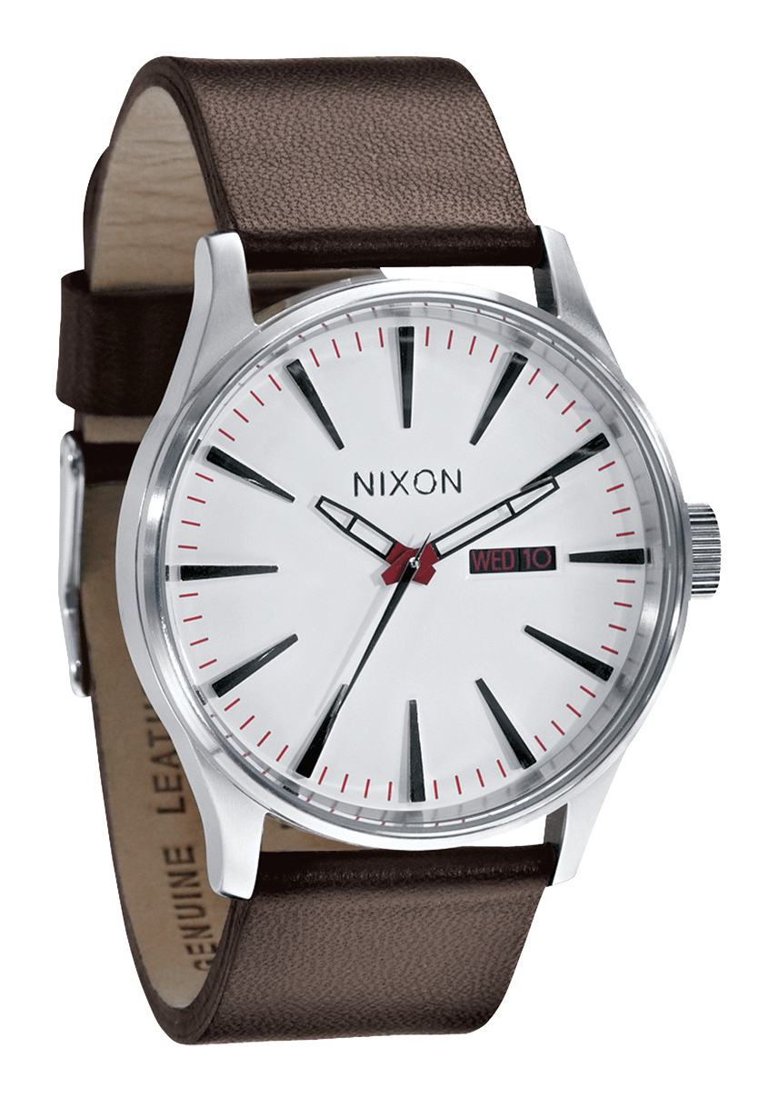 nixon the sentry leather white herrenuhr a105100 nur 149 00. Black Bedroom Furniture Sets. Home Design Ideas
