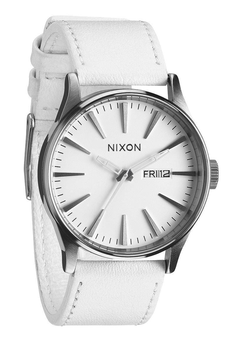 Nixon The Sentry Leather Silver/White Herrenuhr