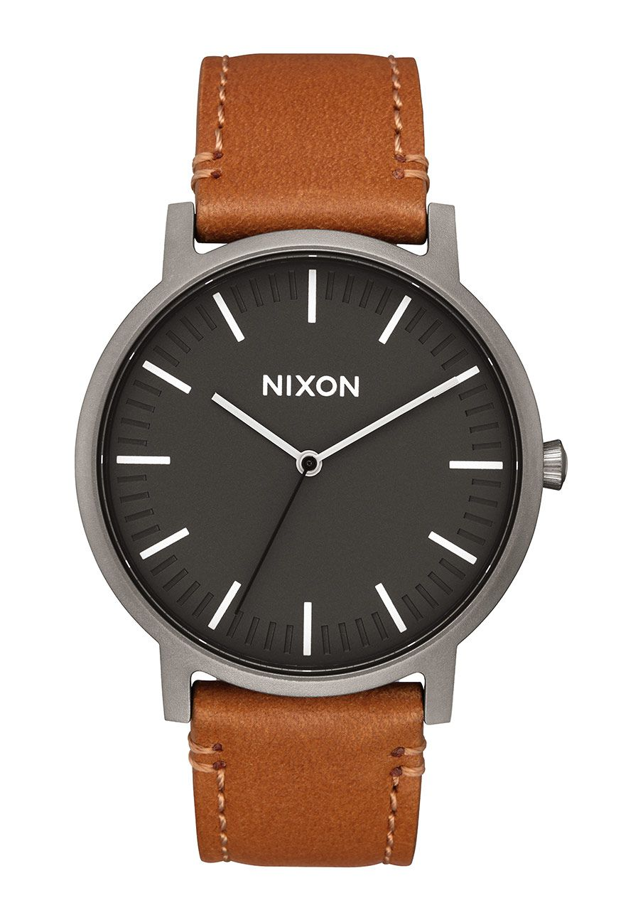Nixon The Porter Leather Gunmetal / Charcoal / Taupe