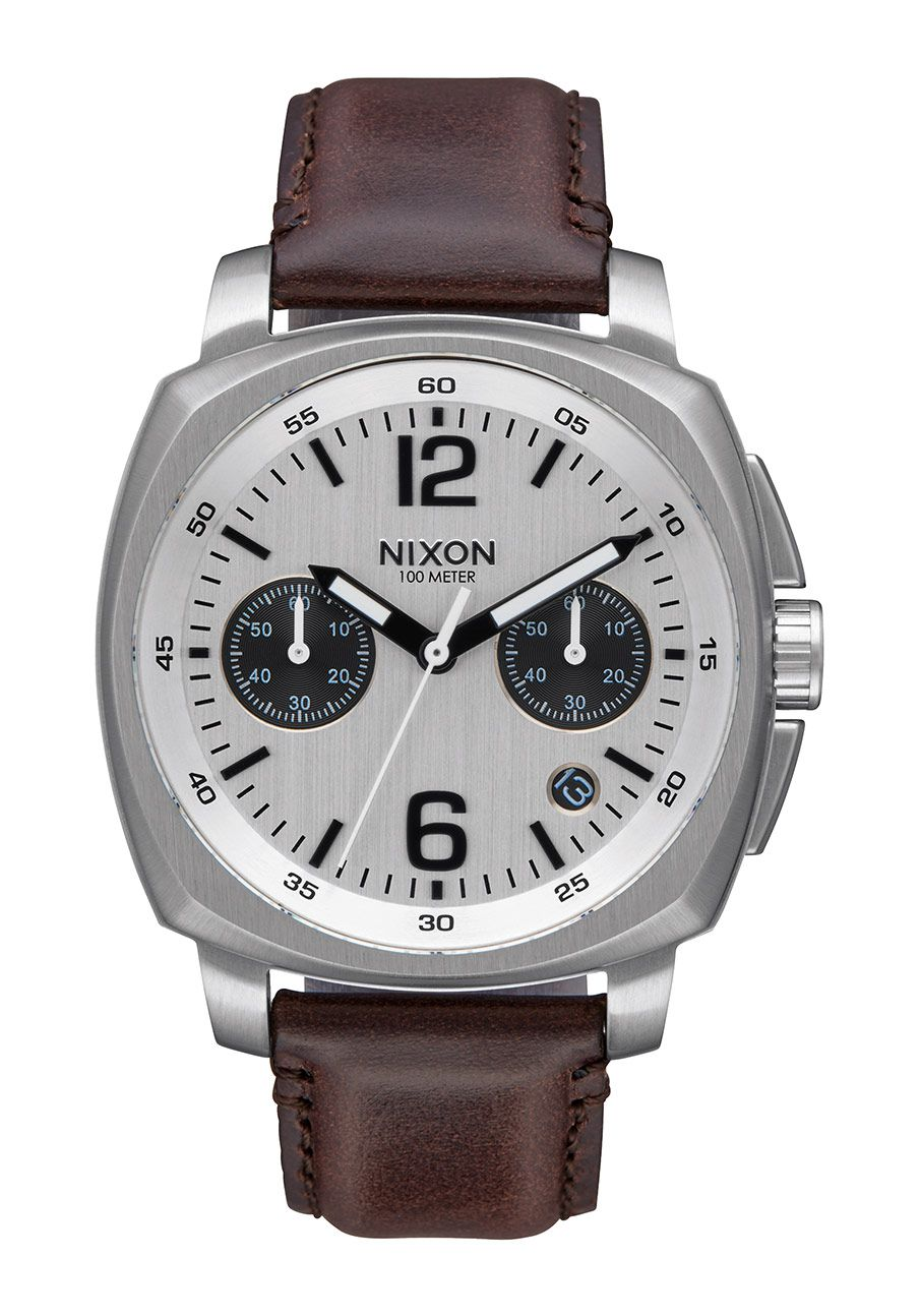 Nixon The Charger Chrono Leather Silver / Brown