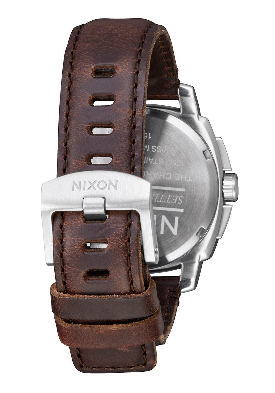 nixon the charger chrono leather silver brown nur 259 00. Black Bedroom Furniture Sets. Home Design Ideas