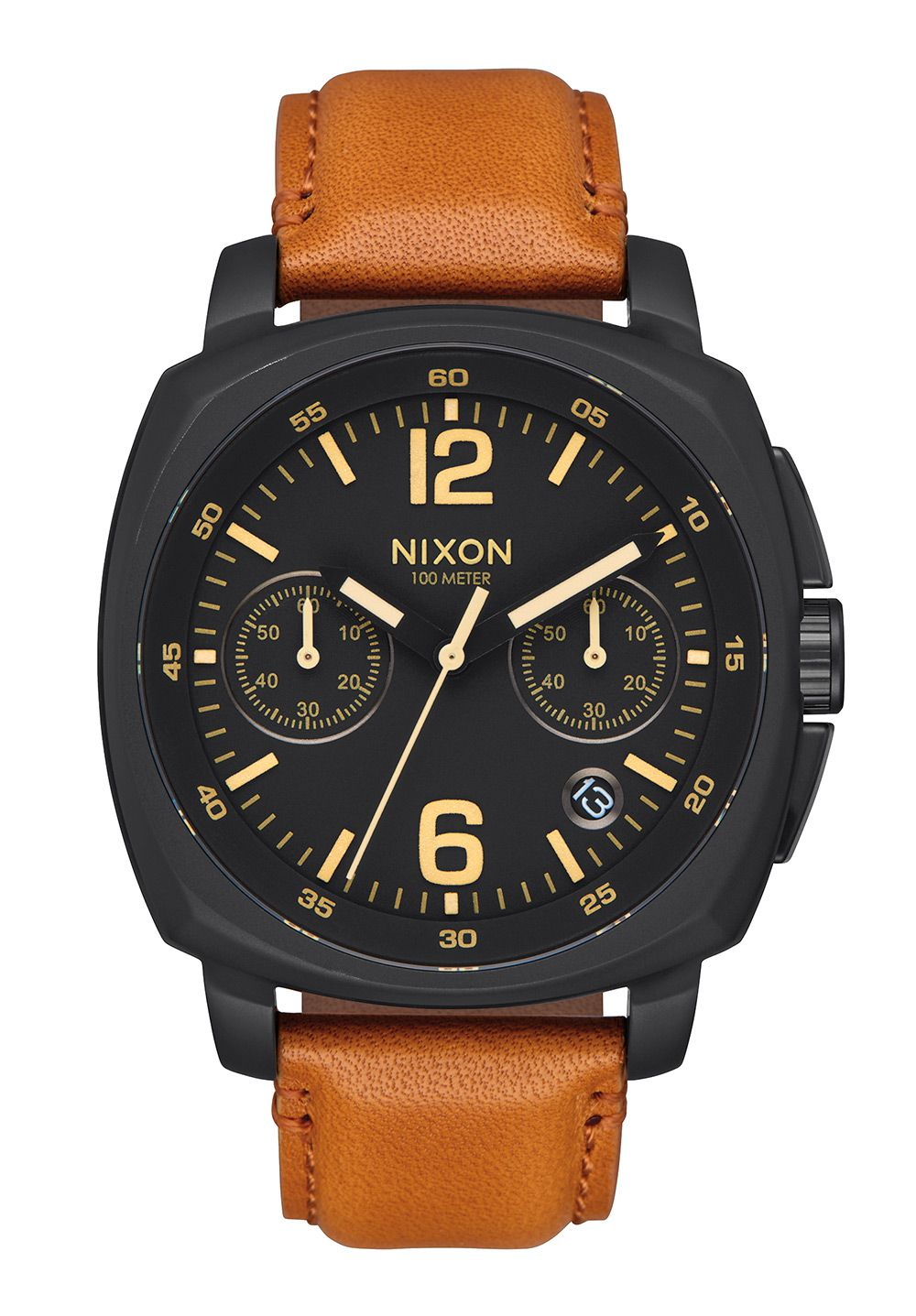 Nixon The Charger Chrono Leather All Black / Light Brown