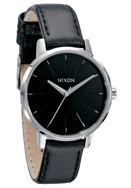 Nixon The Kensington Leather Black Damenuhr