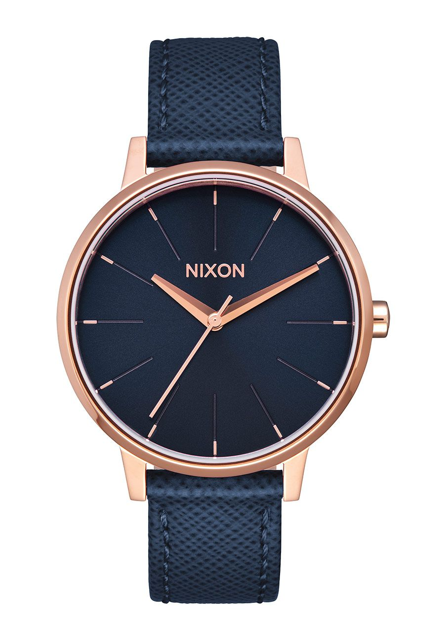 Nixon The Kensington Leather Navy / Rose Gold