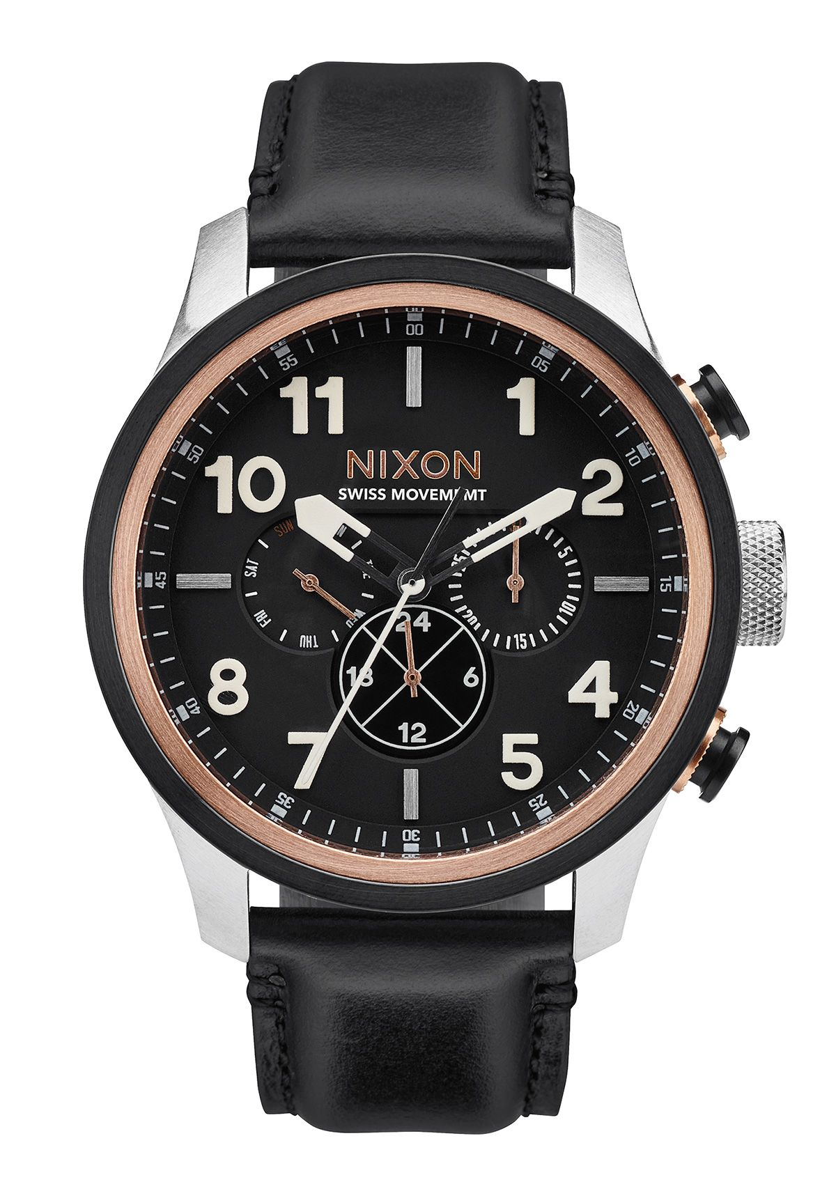 Nixon The Safari Dual Time Leather Black / Rose Gold