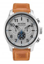 Nixon The Safari Dual Time Leather Silver / Saddle (A1082-2092)