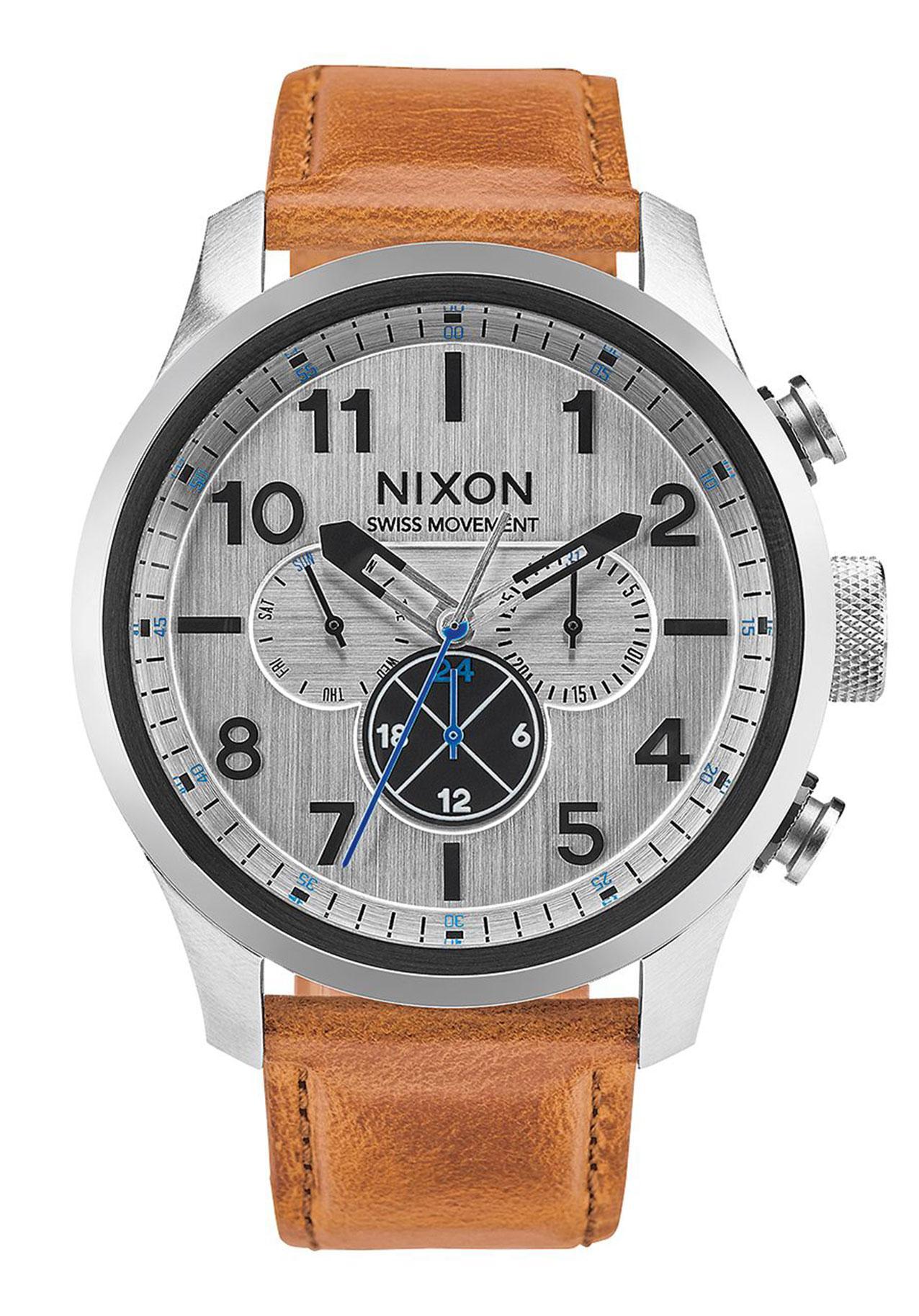 Nixon The Safari Dual Time Leather Silver / Saddle
