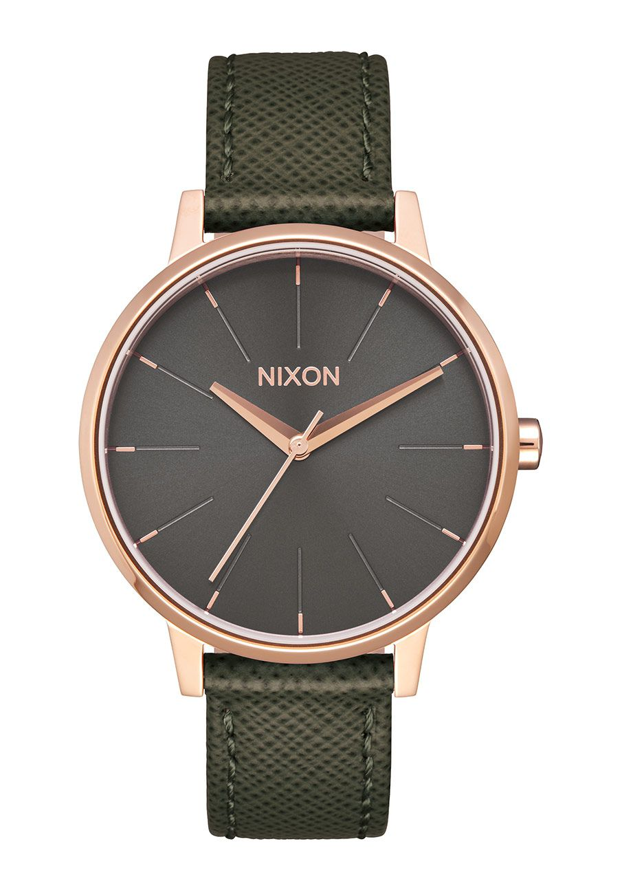 Nixon The Kensington Leather Rose Gold / Green