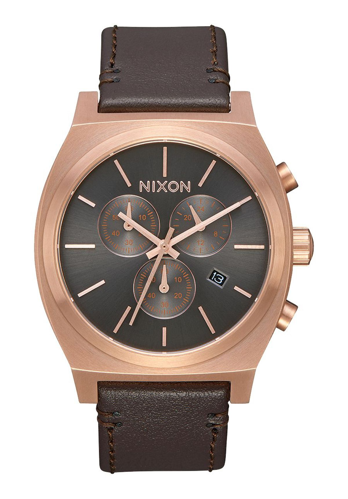 kaufen nixon the time teller chrono leather rose gold gunmetal brown uhren nixon the. Black Bedroom Furniture Sets. Home Design Ideas