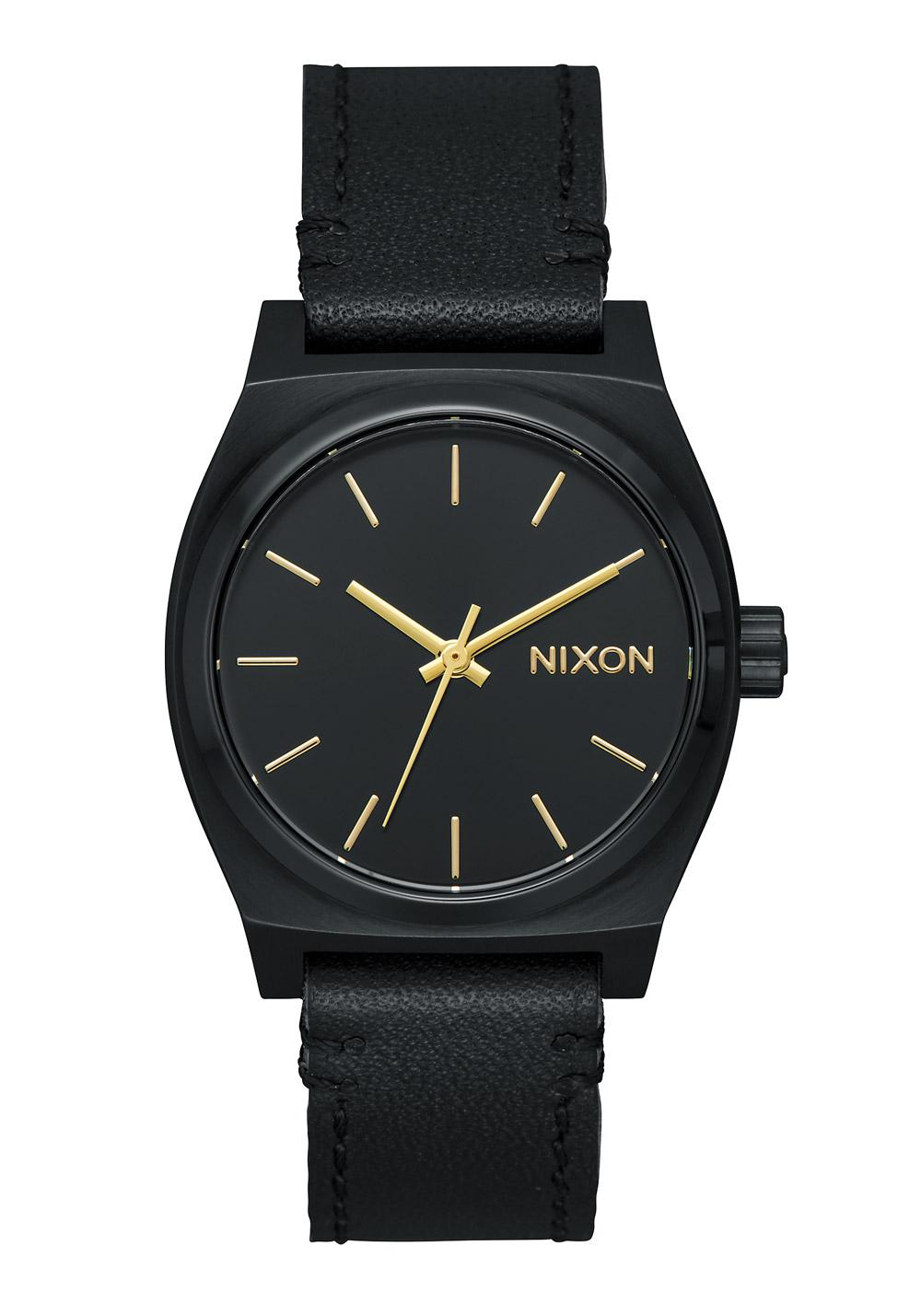 nixon the medium time teller leather all black a1172 001 nur 99 00. Black Bedroom Furniture Sets. Home Design Ideas
