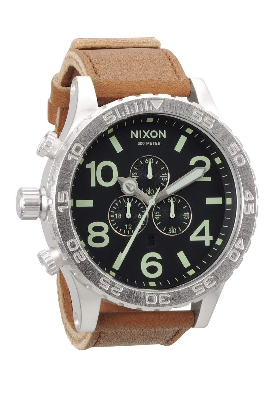 Nixon The 51-30 Chrono Leather Black/Saddle Herrenchronograph