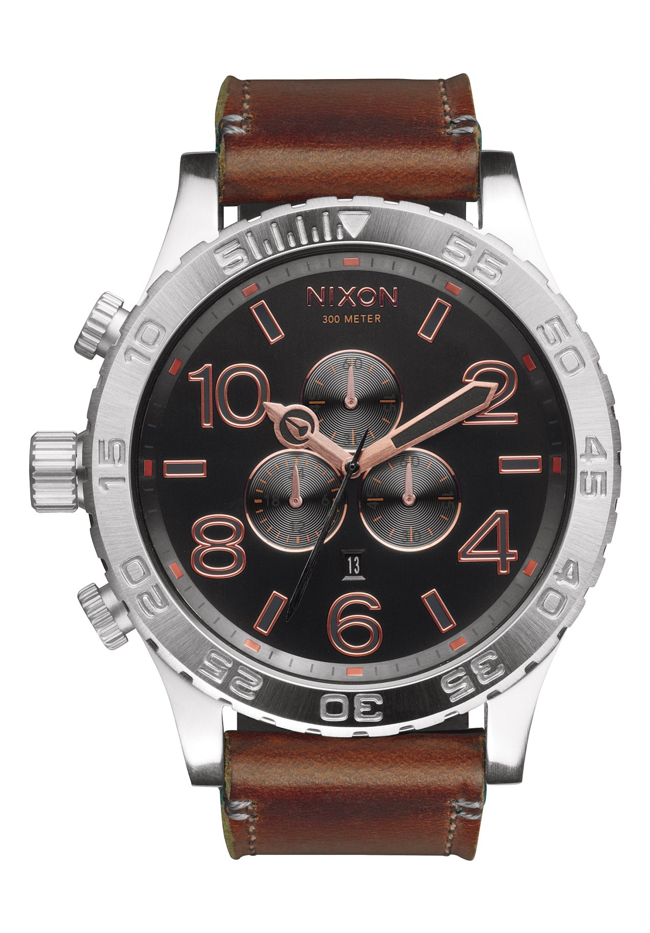 Nixon The 51-30 Chrono Leather Gray Rose Gold Herrenchronograph
