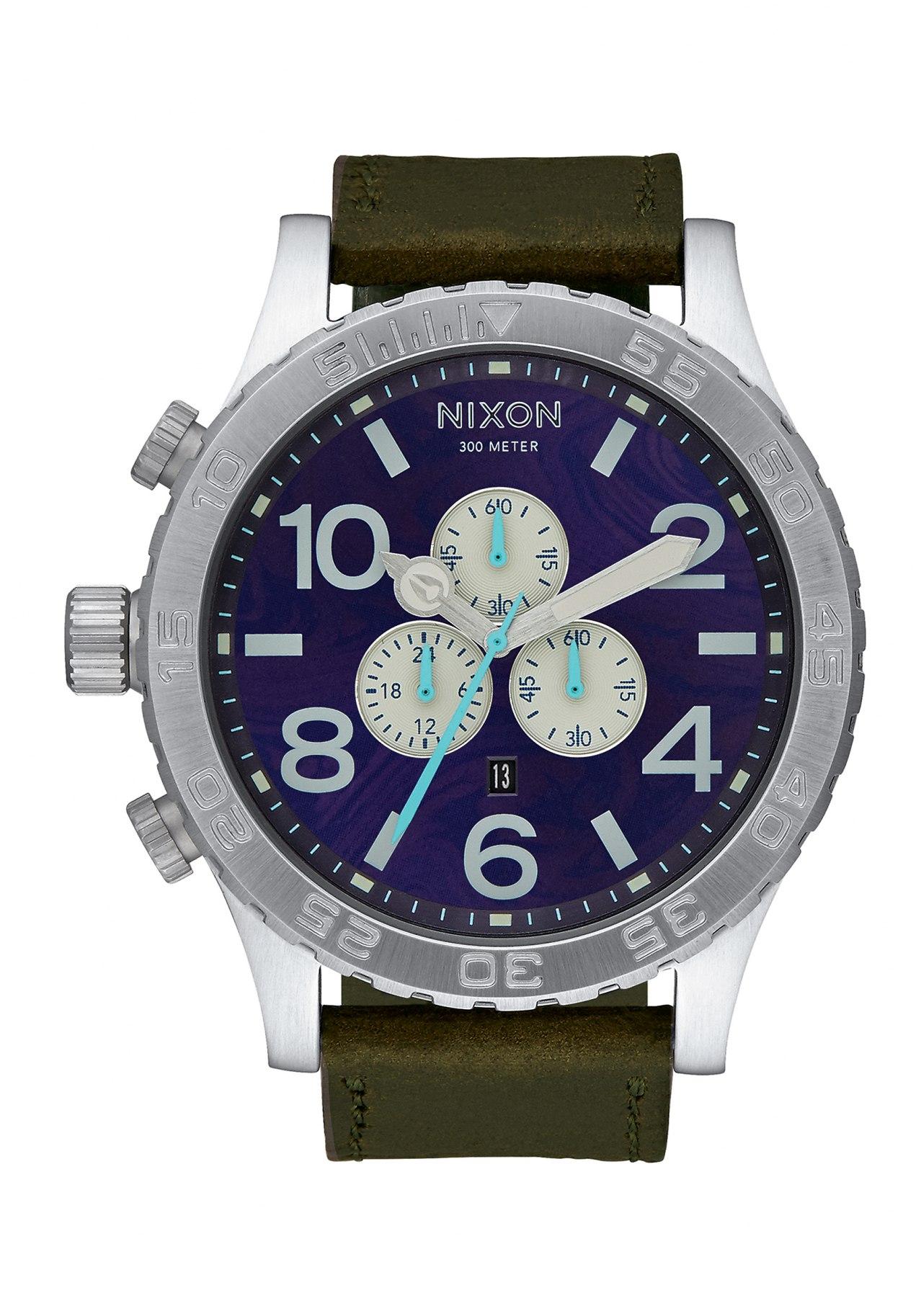 Nixon The 51-30 Chrono Leather Purple / Olive