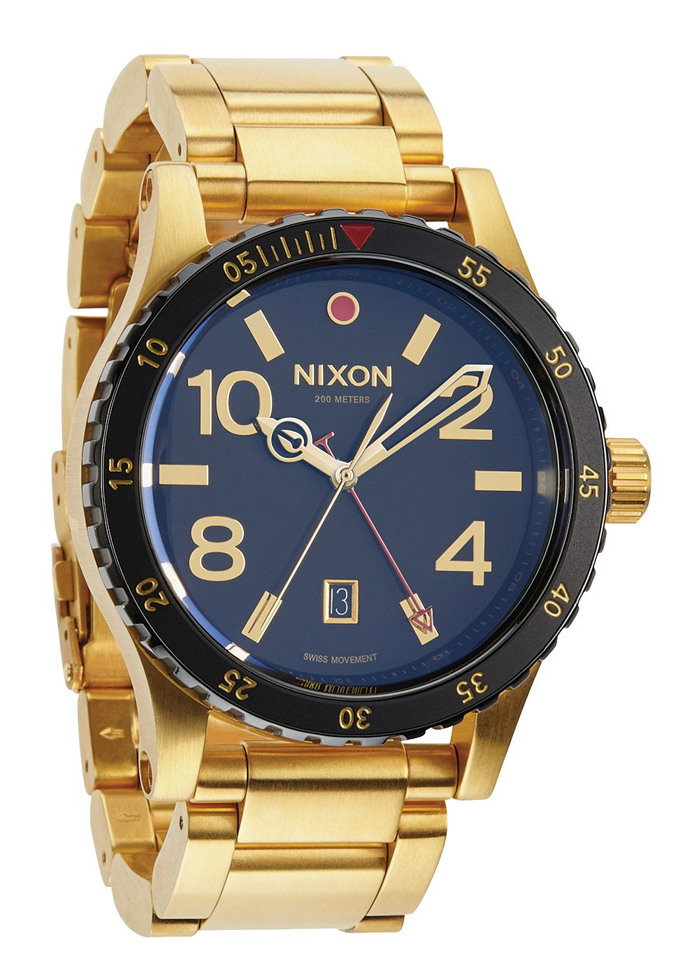 Nixon The Diplomat SS GMT Herrenuhr Gold / Black
