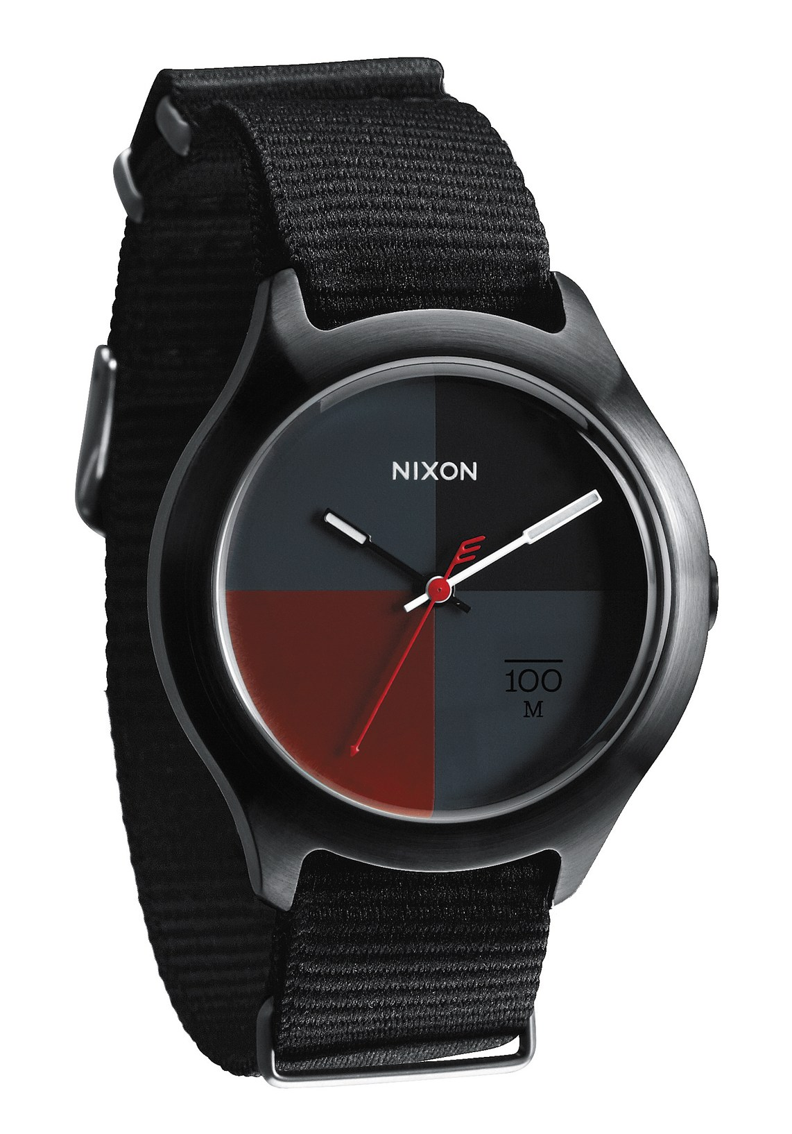 nixon the quad all black dark red nylon uhr a344167 nur 89 00. Black Bedroom Furniture Sets. Home Design Ideas