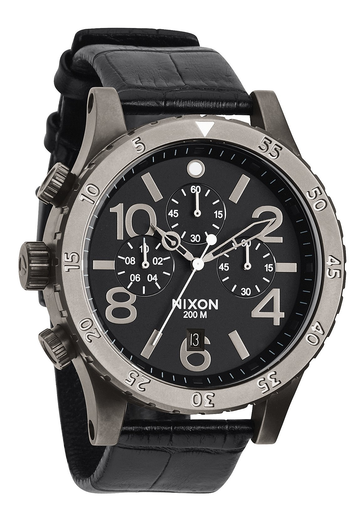 Nixon The 48-20 Chrono Leather Black Gator