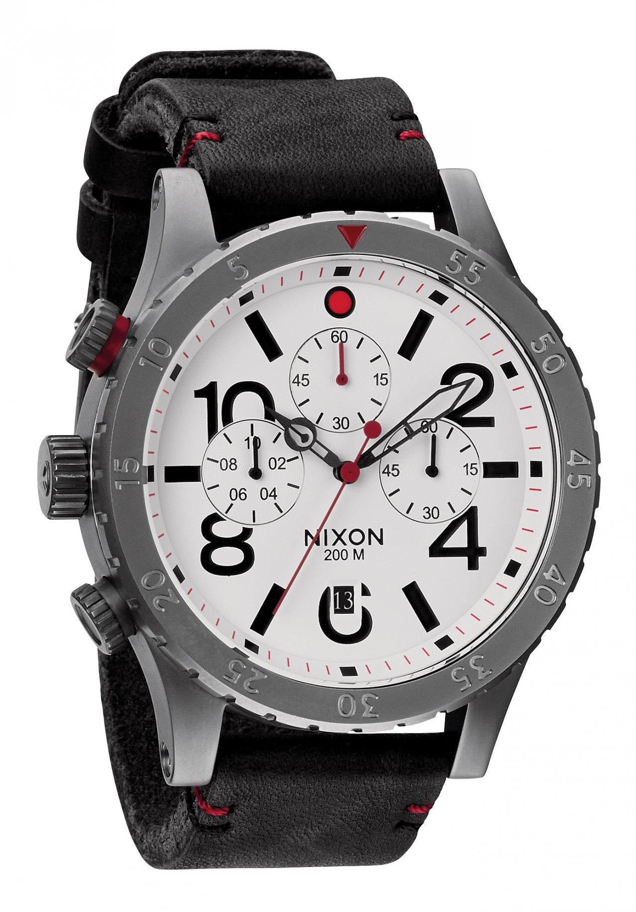 Nixon The 48-20 Chrono Leather Gunmetal / White
