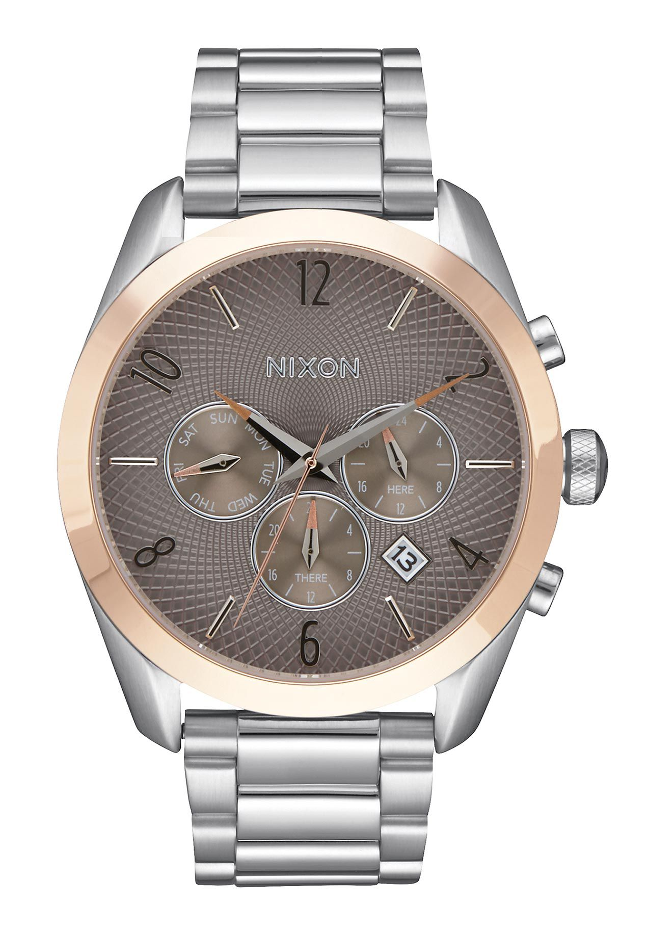 Nixon The Bullet Chrono Silver Rose Gold Taupe