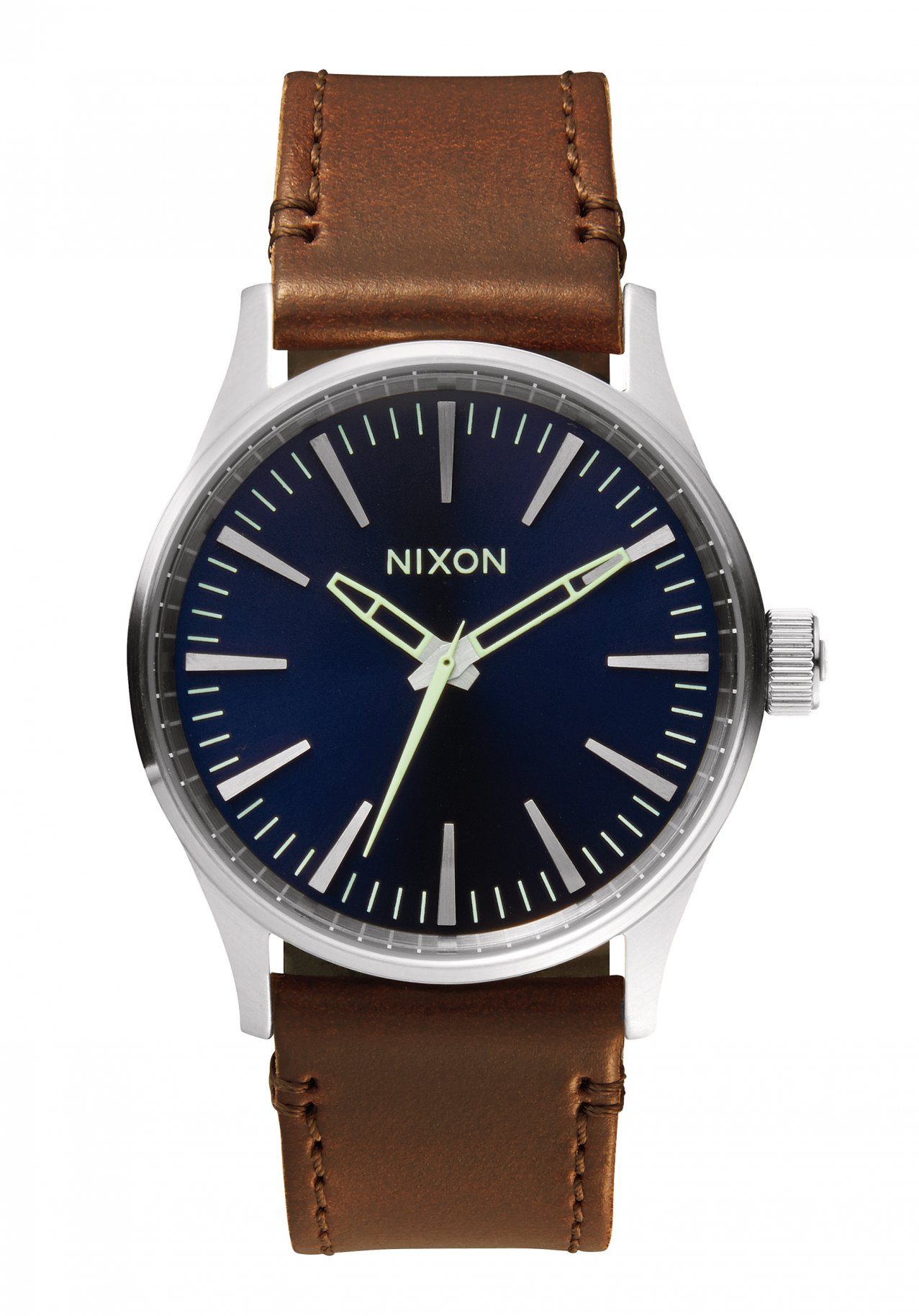 Nixon The Sentry 38 Leather Blue / Brown