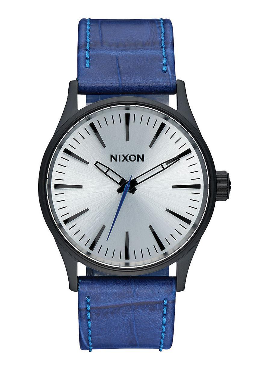 Nixon The Sentry 38 Leather Black / Blue / Gator
