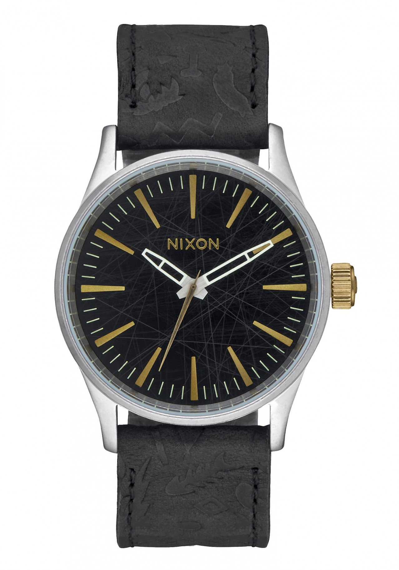 Nixon The Sentry 38 Leather Black Brass