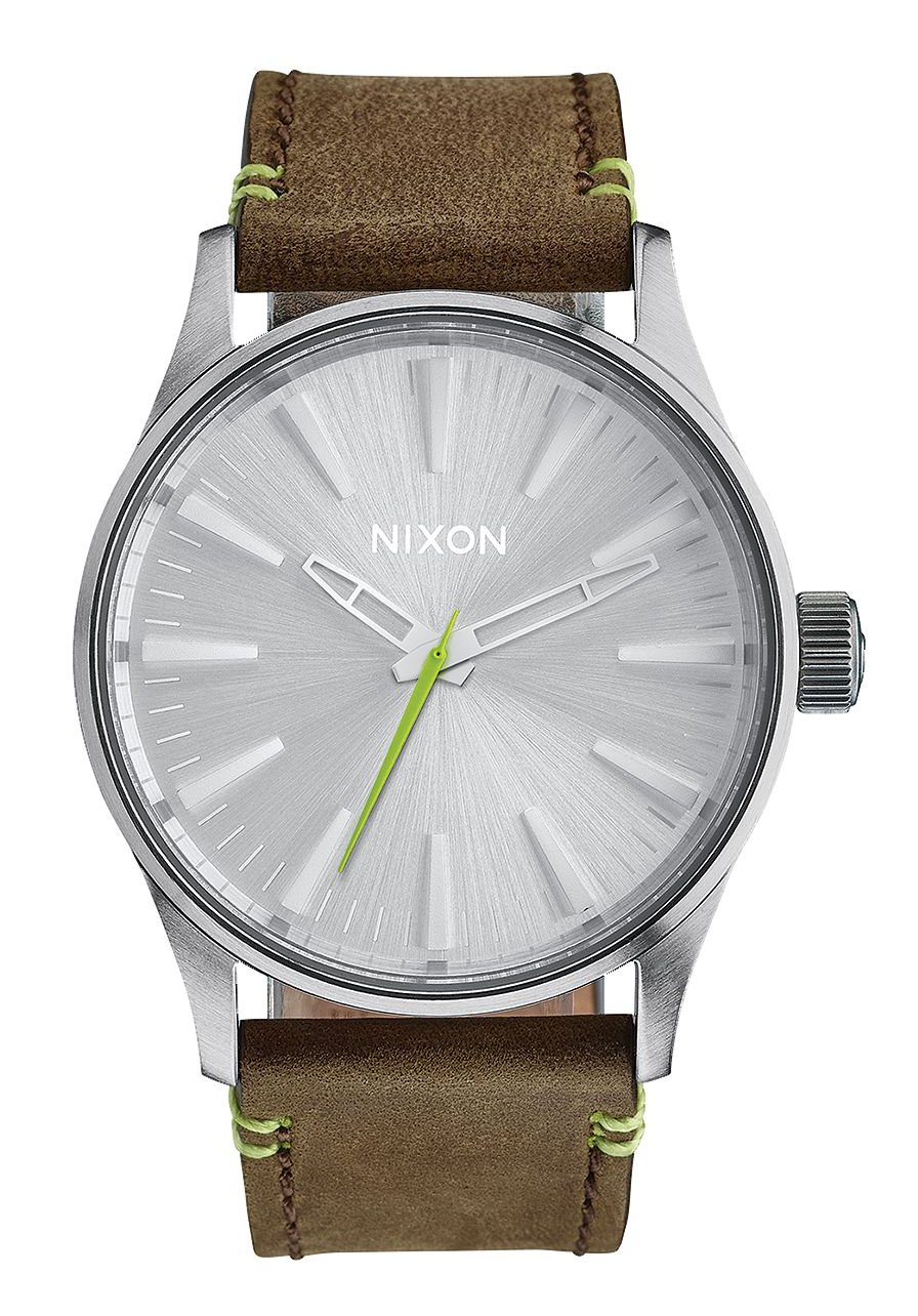 Nixon The Sentry 38 Leather Brown / Lime