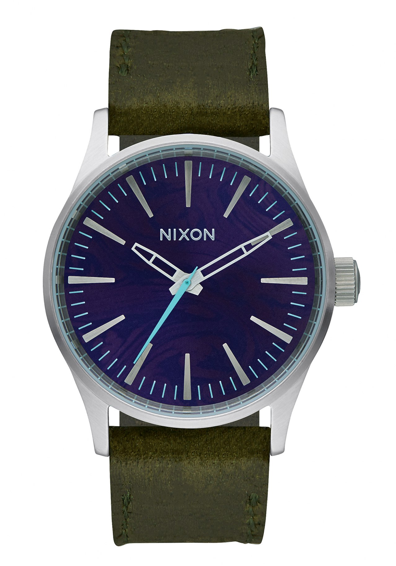 Nixon The Sentry 38 Leather Purple / Olive