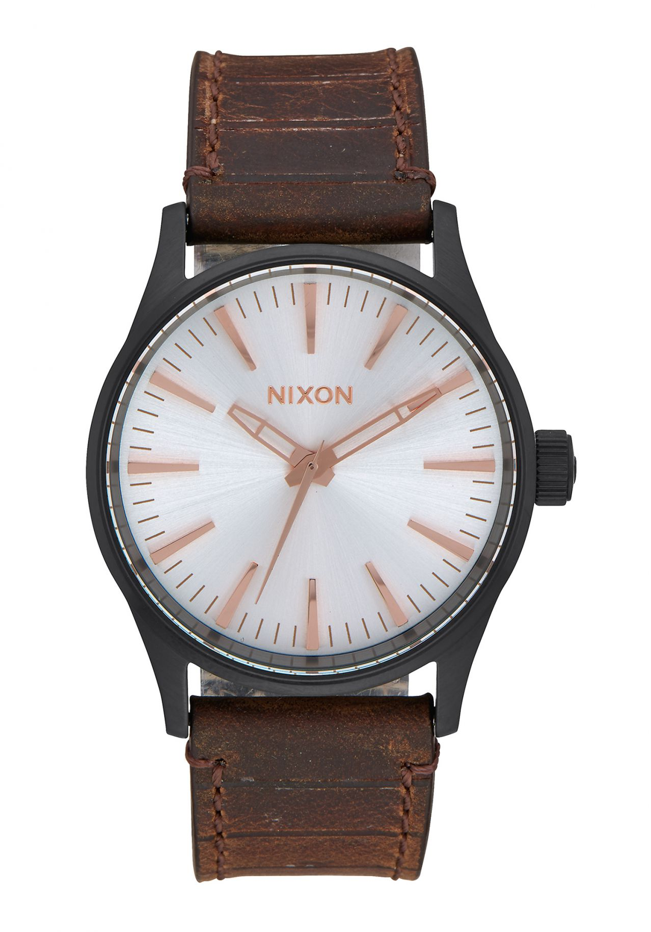 Nixon The Sentry 38 Leather Black / Silver / Brown
