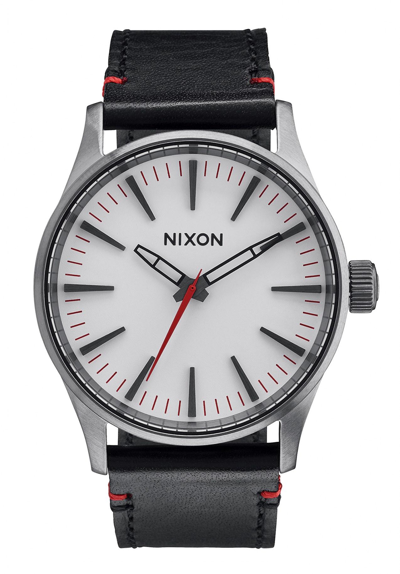 Nixon The Sentry 38 Leather Gunmetal / White