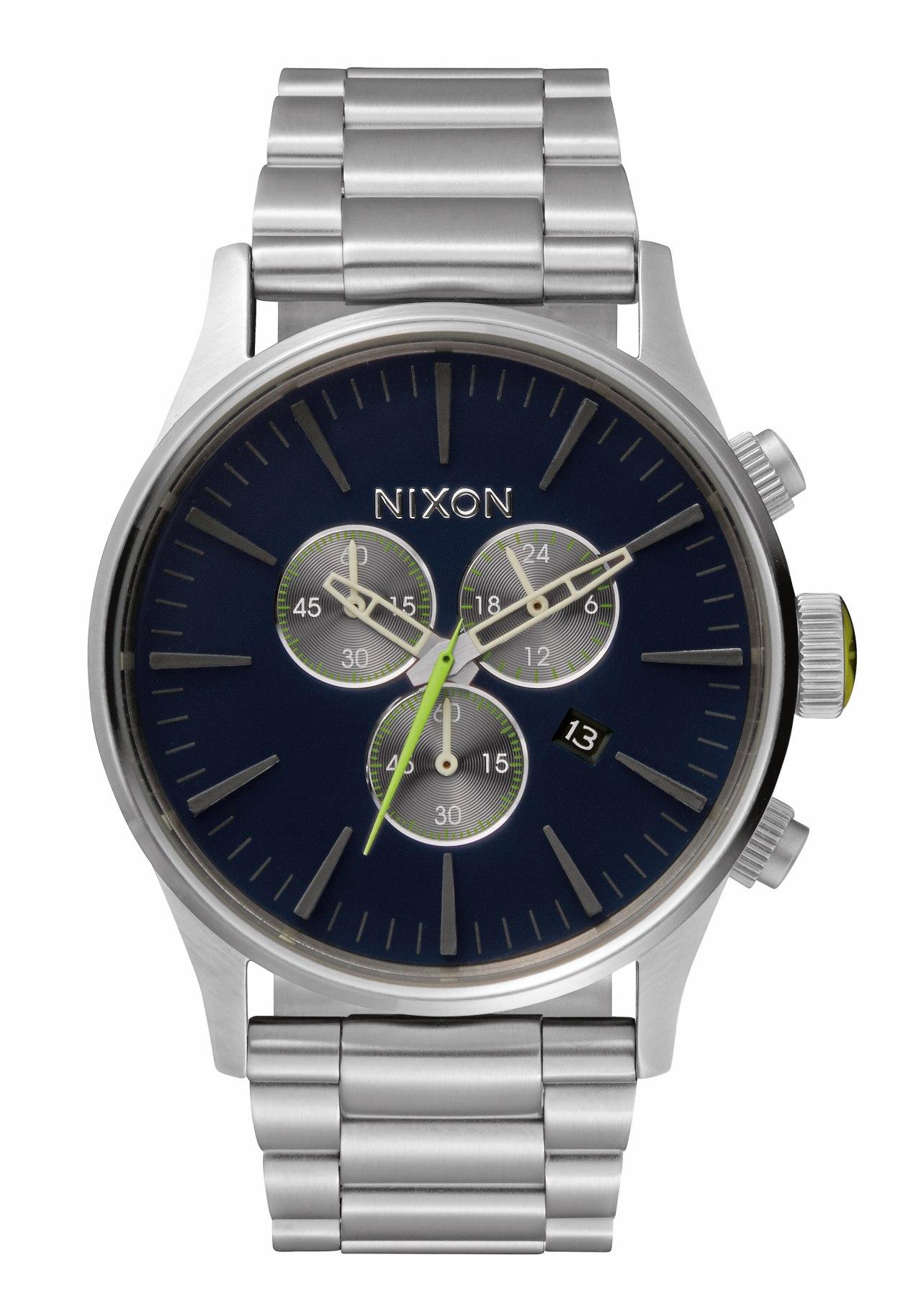 Nixon The Sentry Chrono Midnight Blue / Volt Green