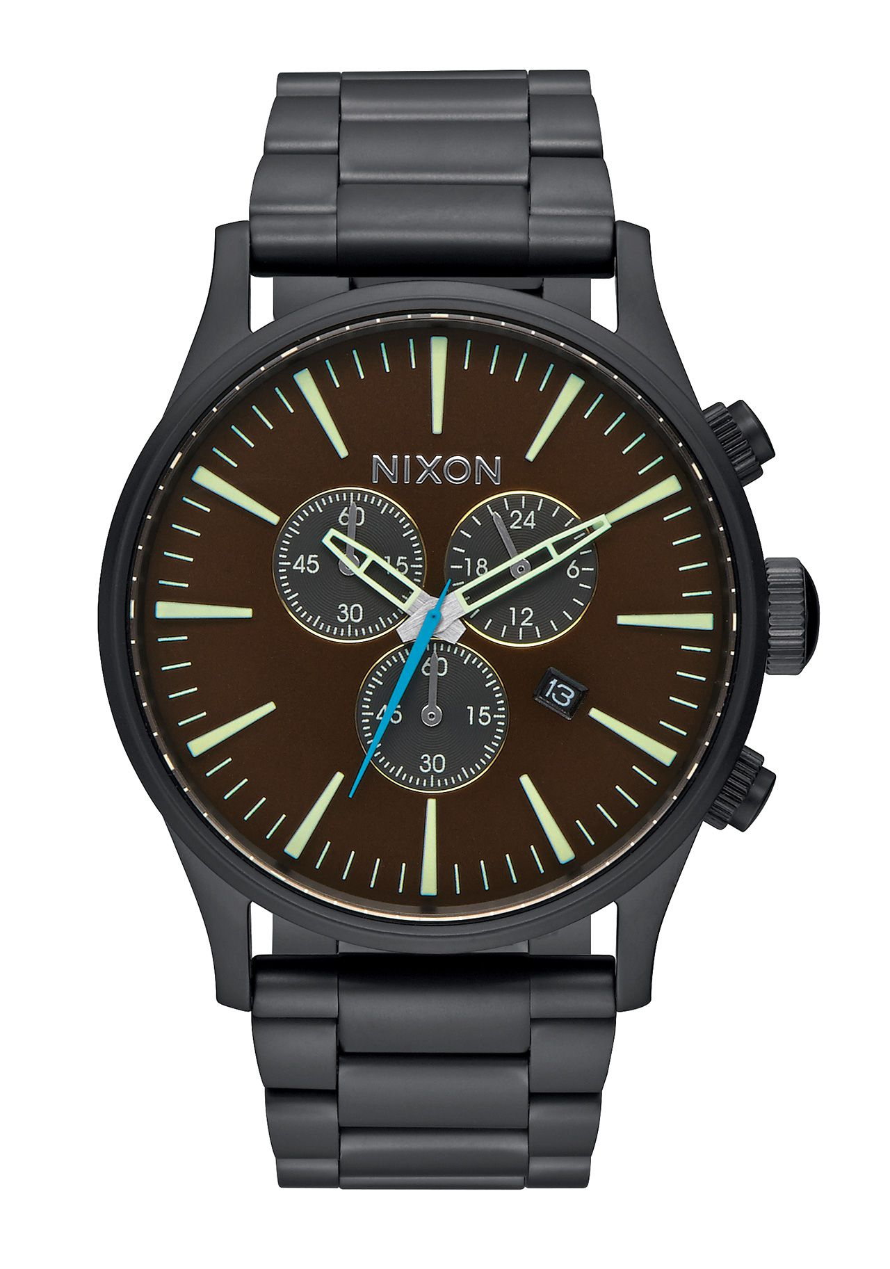 Nixon The Sentry Chrono All Black Brass Brown