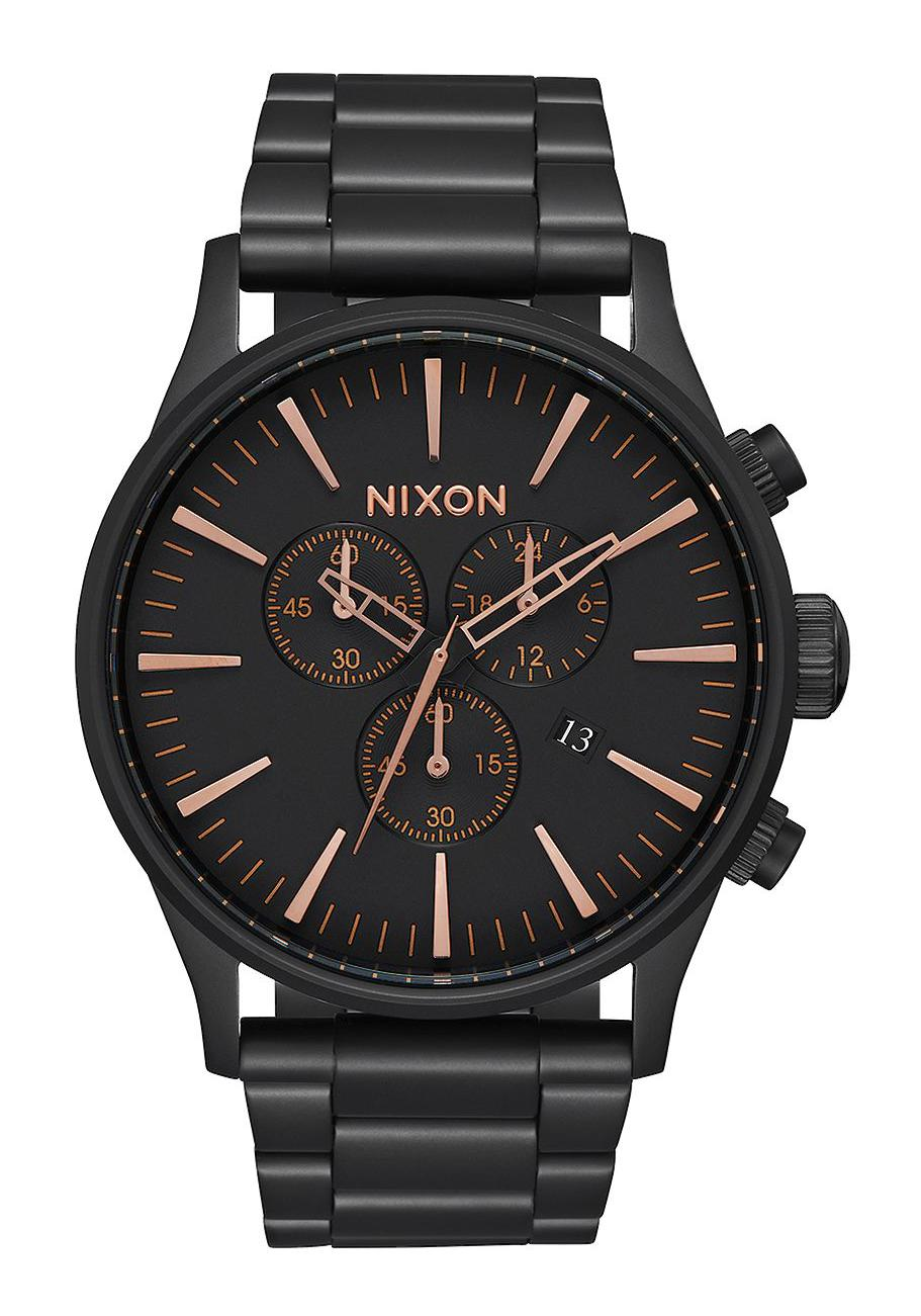 Nixon The Sentry Chrono All Black / Rose Gold