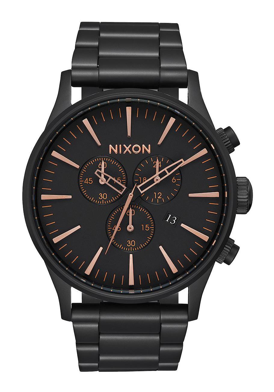 Nixon The Sentry Chrono All Black / Rose Gold