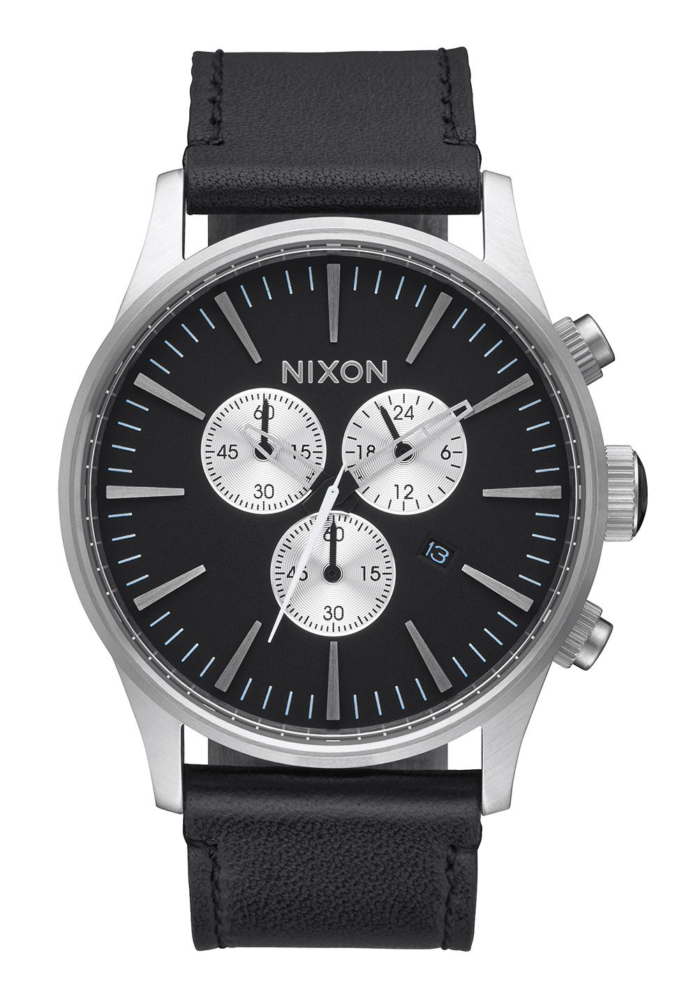 nixon the sentry chrono leather black a405000 nur 239 00. Black Bedroom Furniture Sets. Home Design Ideas