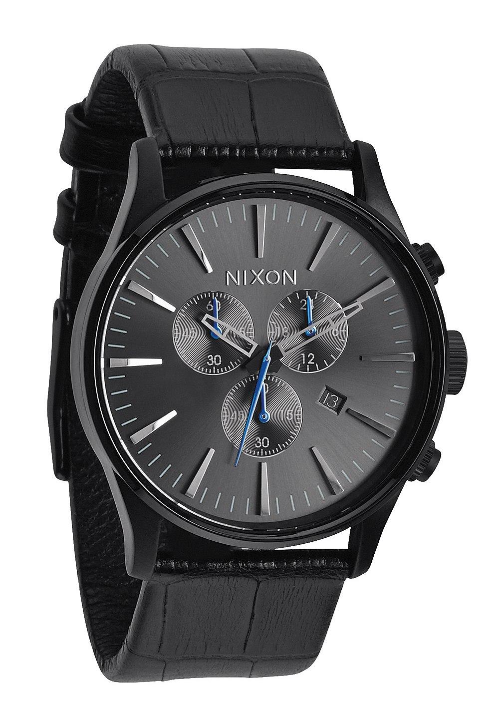 Nixon The Sentry Chrono Leather Black Gator