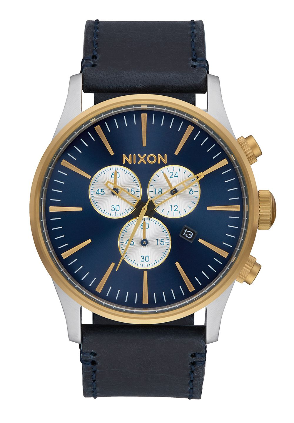 Nixon The Sentry Chrono Leather Gold / Blue Sunray Herrenchronograph