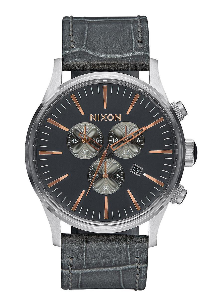 Nixon The Sentry Chrono Leather Gray Gator