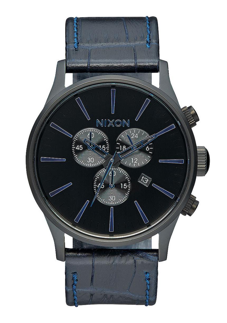 Nixon The Sentry Chrono Leather Navy Gator