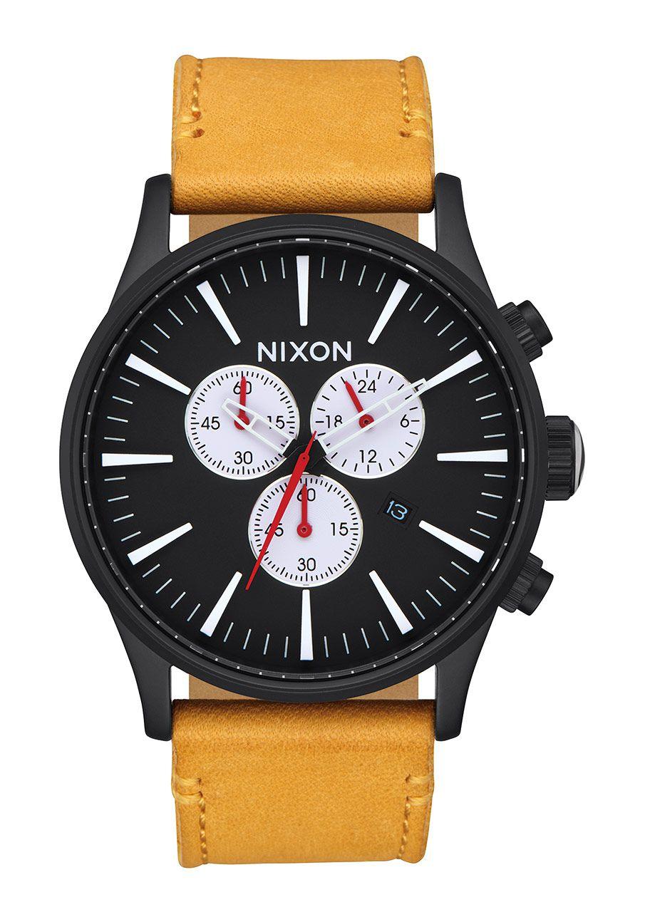 Nixon The Sentry Chrono Leather All Black / Goldenrod