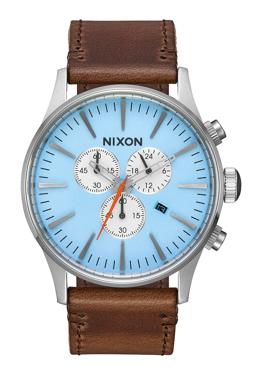 nixon the sentry chrono leather sky blue taupe nur 189 00. Black Bedroom Furniture Sets. Home Design Ideas