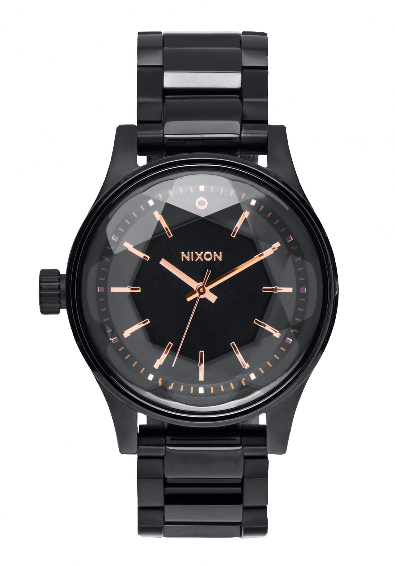 Nixon The Facet 38 All Black / Rose Gold