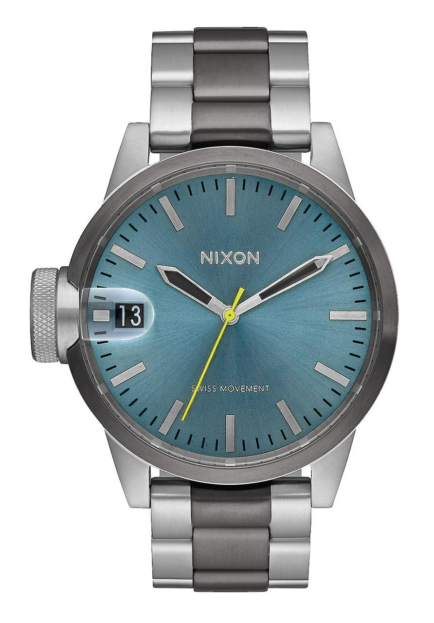Nixon The Chronicle 44 Gunmetal Aqua Sunray
