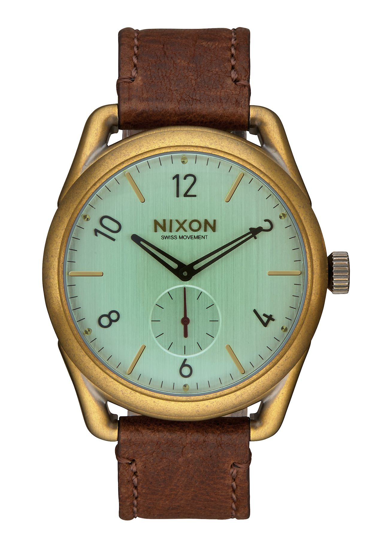 Nixon The C39 Leather Brass Green Crystal Brown Herrenuhr