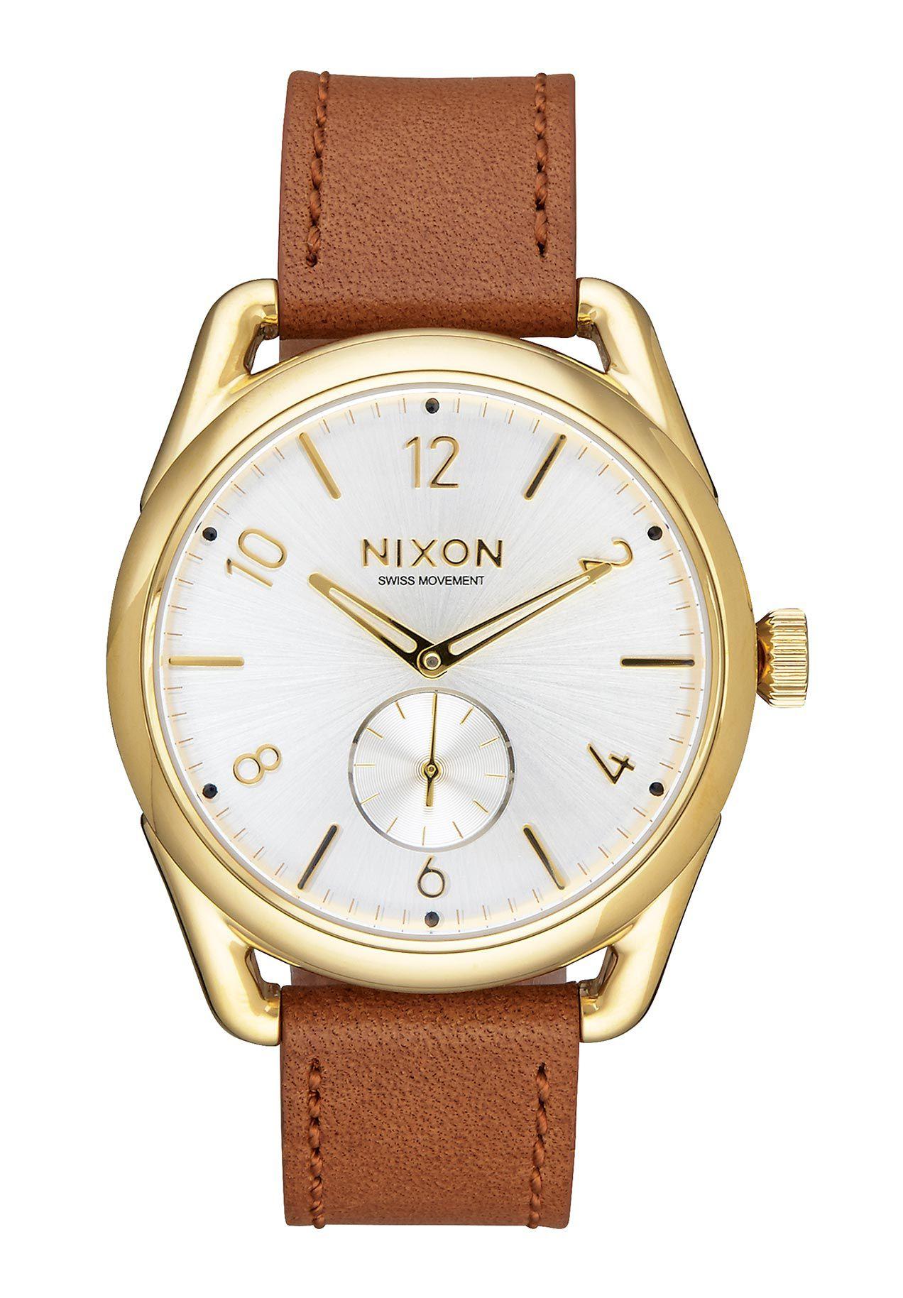 Nixon The C39 Leather Gold Saddle White
