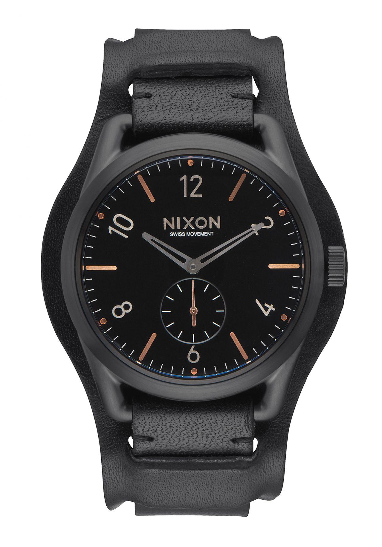 Nixon The C39 Leather Black / Rose Gold / Black Cuff