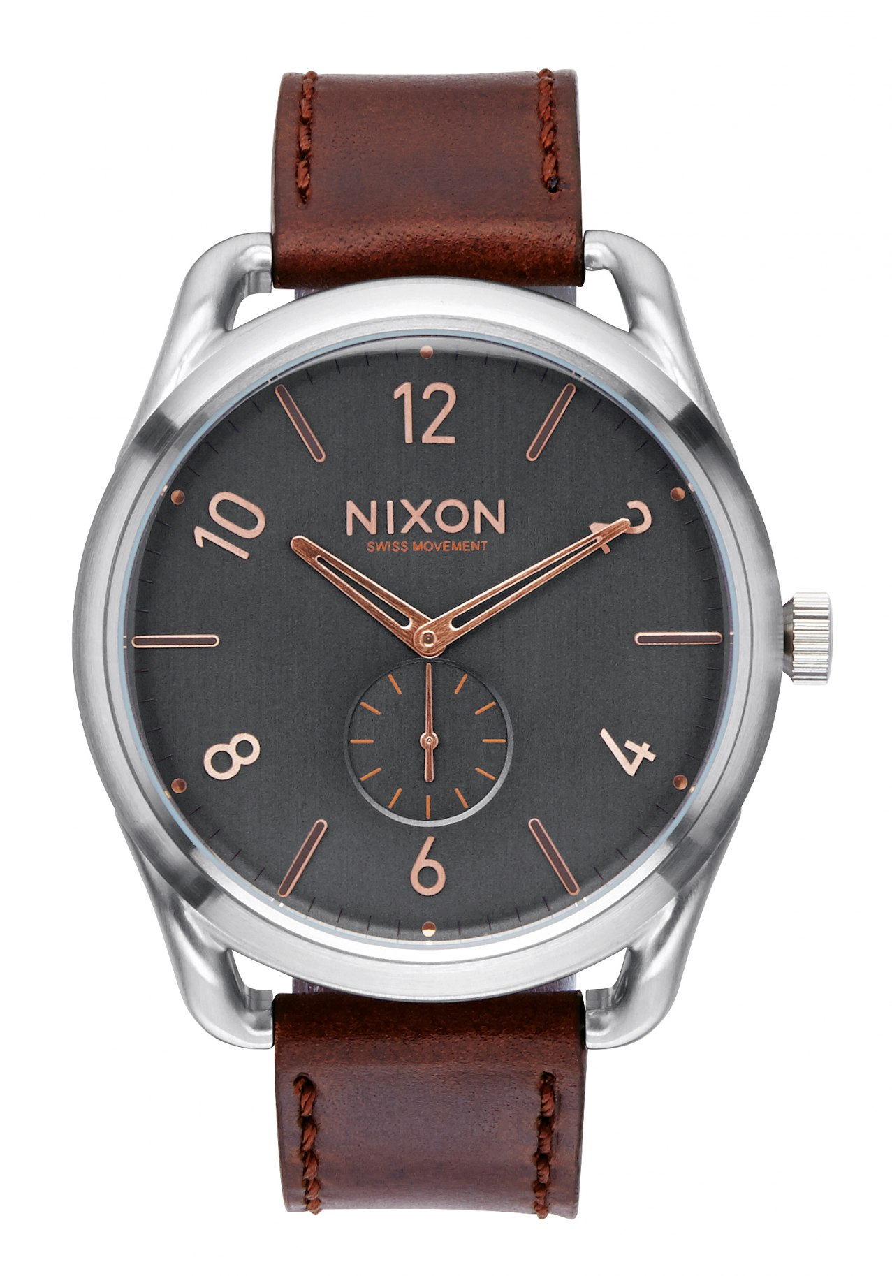 Nixon The C45 Leather Gray / Rose Gold