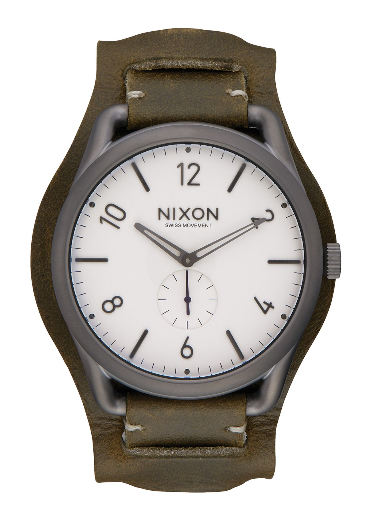 Nixon The C45 Leather Gunmetal / Surplus Cuff